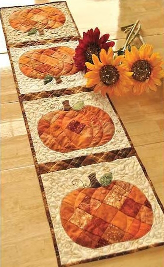 Batik Pumpkins Table Runner In Pieced Patchwork And A