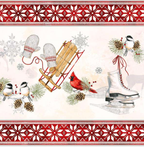 Winter Celebration Red Rooster fabric holiday print