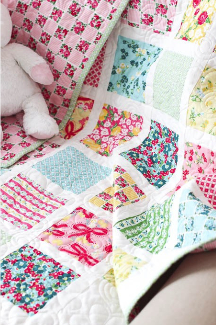 charm pack floral fabric baby quilt