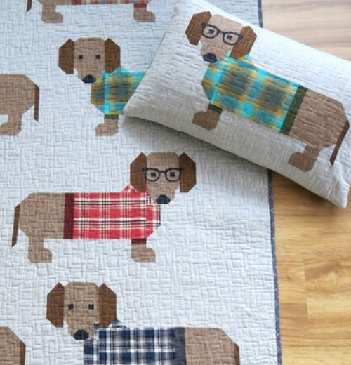 cute dog quilt pattern dogs with glasses