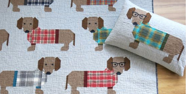 Dogs In Sweaters Quilt For Doxie Lovers Quilting Cubby
