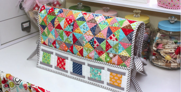 Sewing Machine Cover With Quaint Spool Blocks – Quilting Cubby