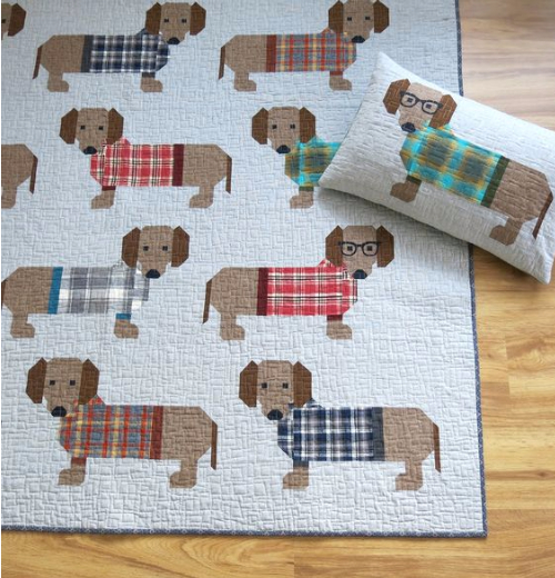 patchwork quilt with dogs wieners