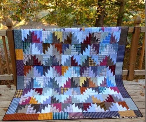 plaid fabric quilt Mountain Majesties quilt block