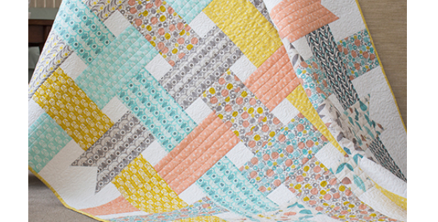 Folksy Daisy Ribbon Box Baby Girl Quilt Quilting Cubby