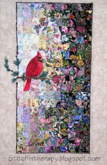 water color quilt cardinal