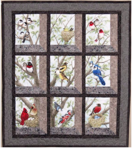 40 Block Fabric Panel Makes The Most Beautiful Bird Quilt Quilting Impressive Attic Window Quilt Pattern