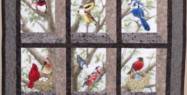 12 block panel fabric birds