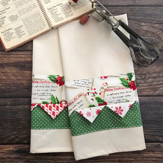 Christmas tea towels with holiday fabric