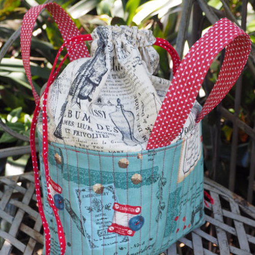 Fabric Sewing Basket with drawstring