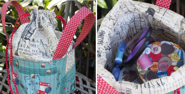 Fabric Sewing basket with drawstring top