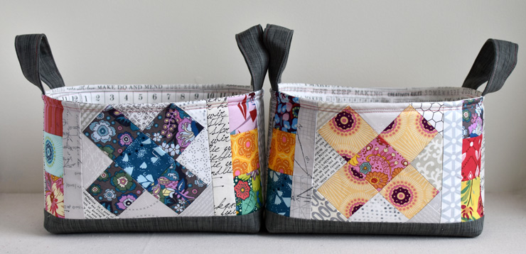 Great Granny Squared blocks added to fabric basket