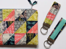 Half square triangle zipper pouch matching key fob