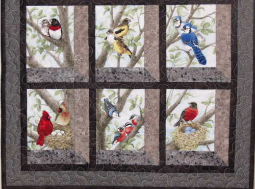 12 Block Fabric Panel Makes The Most Beautiful Bird Quilt