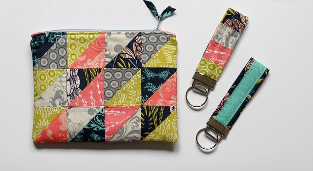 half square triangle pouch and matching key fob