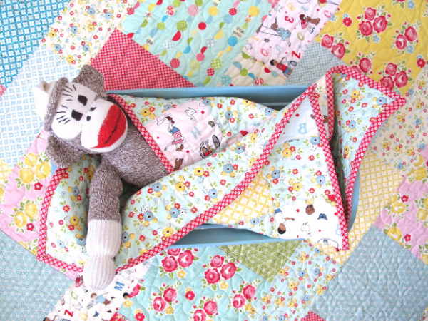 layer cake pattern baby quilt