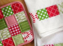 mini charm patchwork dish towel