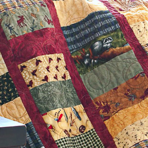 quilts for men using novelty woodland fabric