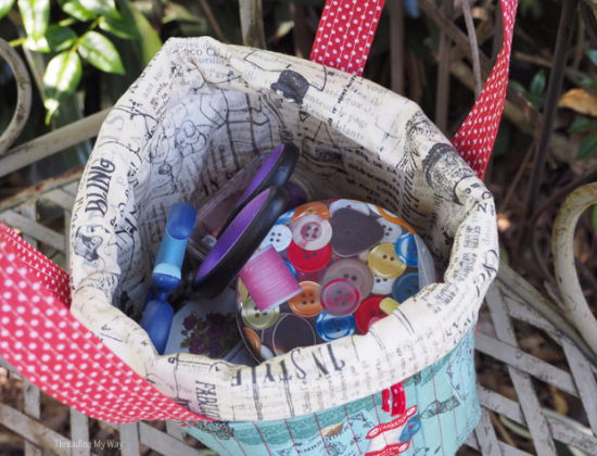 sewing bag that becomes a basket