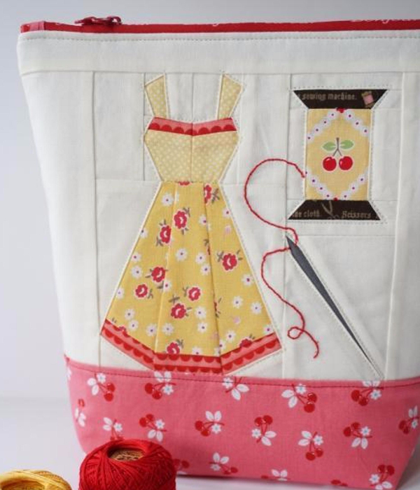 vintage notions pouch paper peiced
