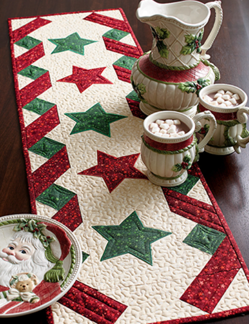 Celebration Table runner with applique stars