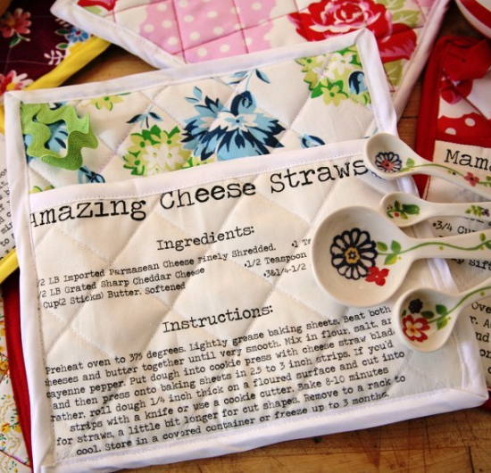 Spoonflower to print recipes on fabric
