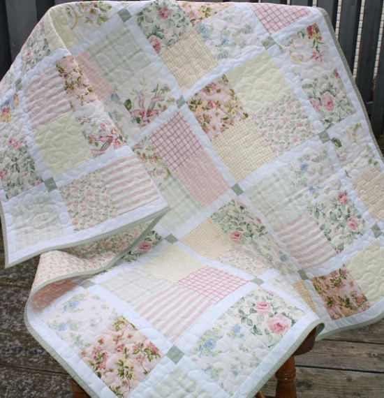 floral fabric vintage style quilt