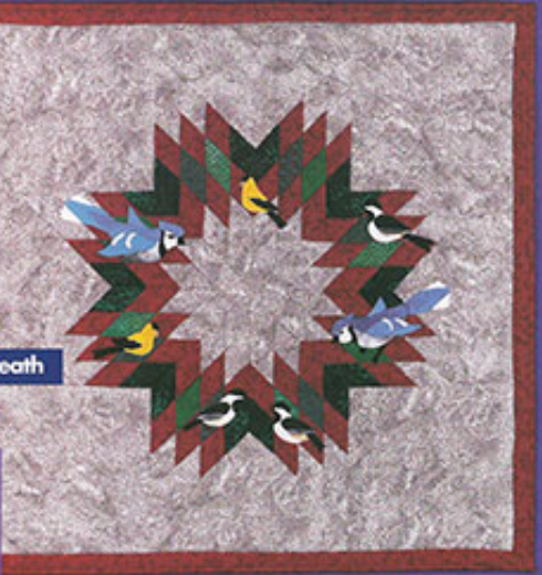 wreath wall quilt with birds