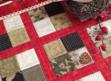 Christmas kitchen quilt easy four patch with crochet