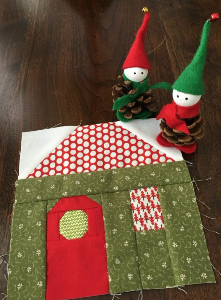 christmas cottage house quilt blocks