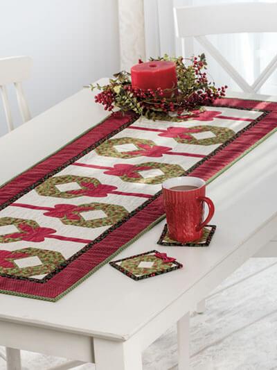 christmas table runner pattern wreath