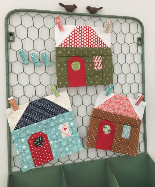 house quilt blocks cottage with wreath