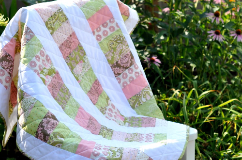 jelly roll charm square baby quilt
