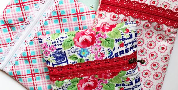 lace zipper zippered pouch