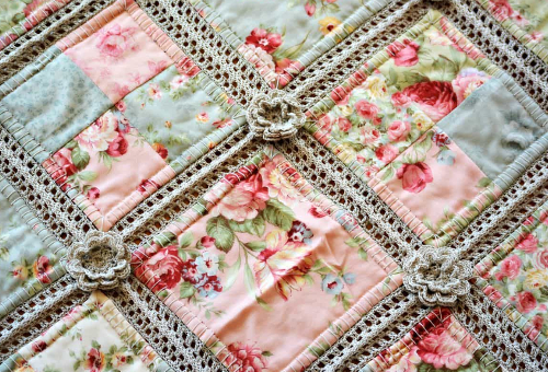 patchwork quilt and crochet