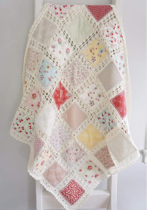 vintage style fabric and crochet quilt