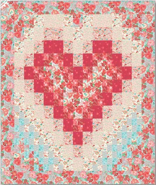 Heart quilt pattern watercolor