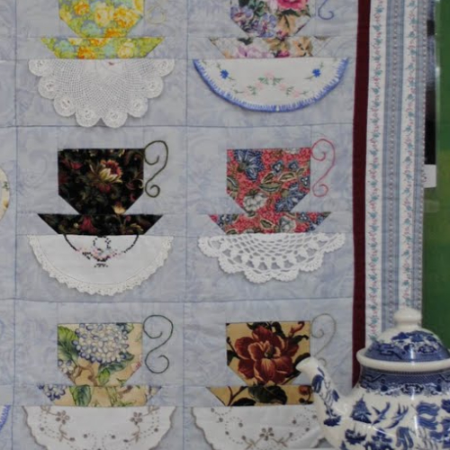 Teacups Quilt Embellished With Vintage Hankies Quilting Cubby