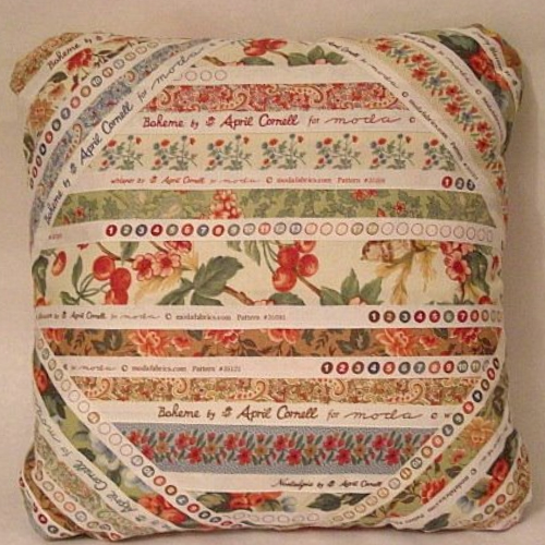 decorative pillow made from selvages