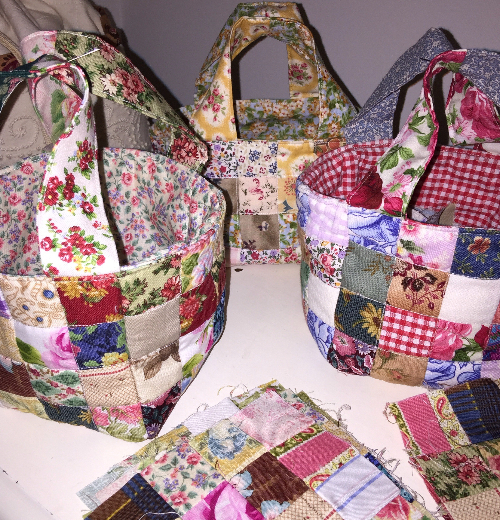 easy patchwork fabric baskets