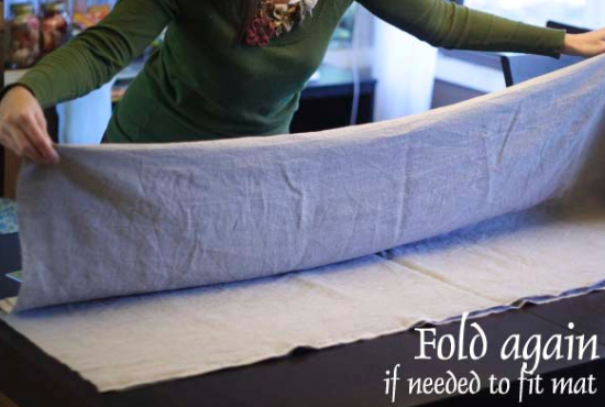 how to fold fabric to cut it straight