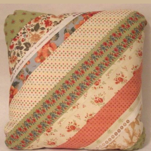 pillow made from fabric strips
