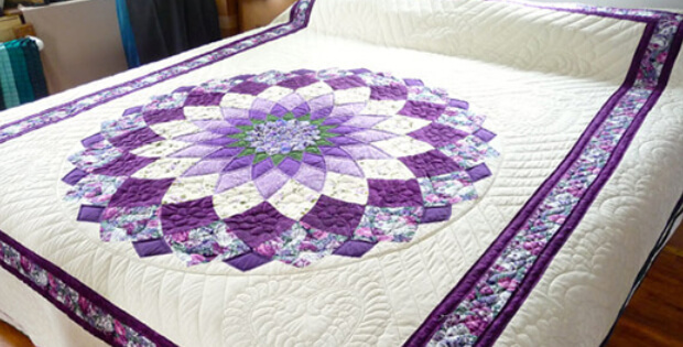A Striking Giant Dahlia Quilt For Spring Or Any Time Of