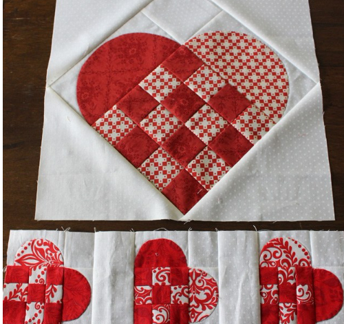 Nordic Mini Quilt With Basket Weave Hearts Quilting Cubby