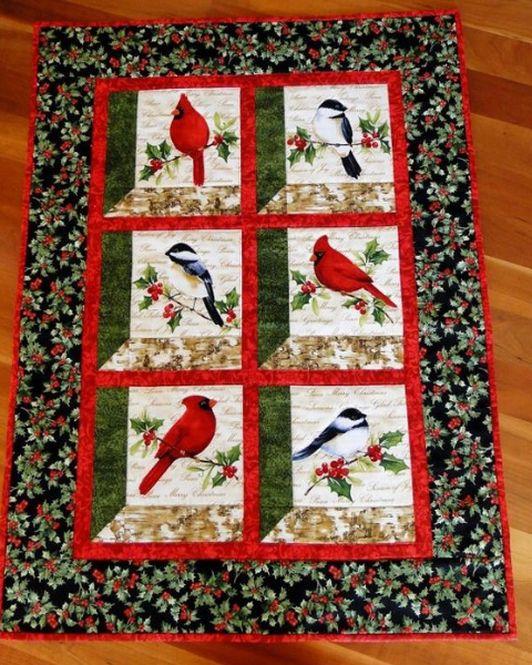 birds fabric panel in a wall quilt