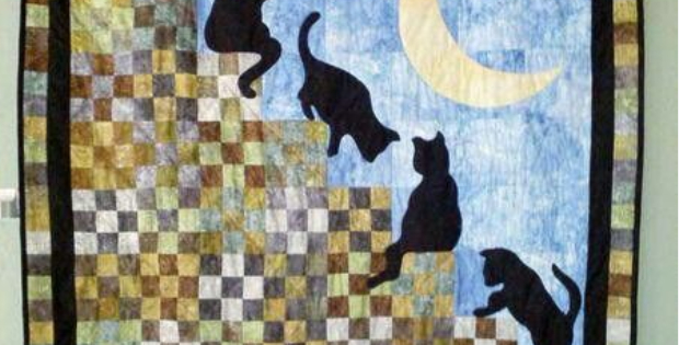 Cat Stairway To Heaven And Sweet Kittens Play On Nine Patch Squares