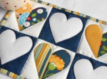 heart mug rug applique hearts
