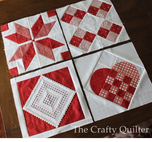 hearts quilt with quilt blocks in a row