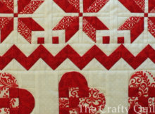 patchwork hearts wall quilt