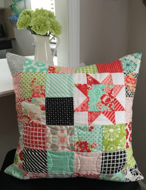 patchwork pillow Moda Treats Bonnie and Camille